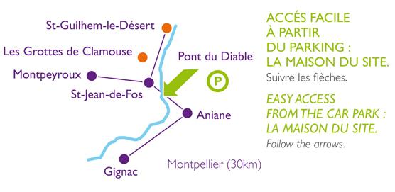 Canoë Hérault : Plan d'accès : Les Canoës du Pont du Diable